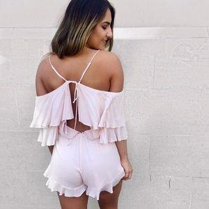 Dresses & Skirts - Ooh La Luxe Light Pink Off The Shoulder Romper